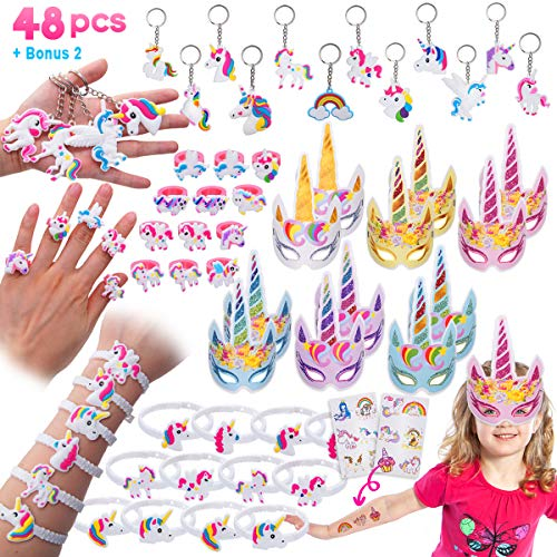 Pawliss 48 Pack Unicorn Party Favors Supplies, Masks, Rings, Bracelets, Keychains, Tattoos, Kids Girls Birthday Novel Rainbow Gifts Toys, for 12 Guests by Pawliss