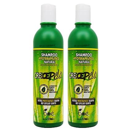 BOE Crece Pelo Shampoo Fitoterapeutico Natural (Natural Phitoterapeutic Shampoo) 13.2oz Pack of 2
