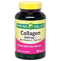 Spring Valley Collagen 1,000mg Per Tablet, Plus Vitamin C, Type 1 & 3, 120ct by Equate