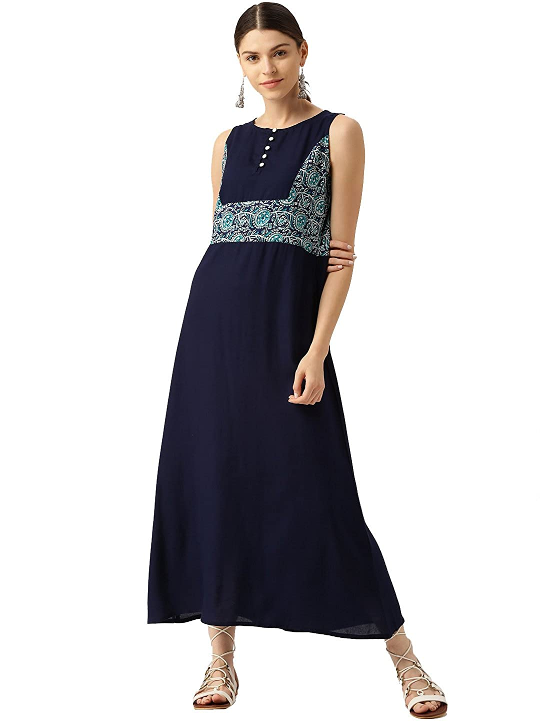 Desi Fusion Women Solid ALine Maxi Dress (Navy bluee)