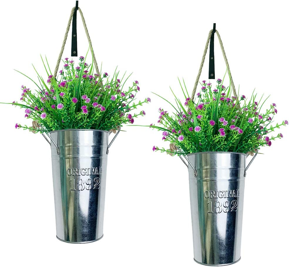 Lesrant Rustic Metal Wall Hanging Planter with Artificial Greenery,Farmhouse French Bucket with Faux Planters Galvanized Metal Wall Decor with Hook Country Home Wall Hanging Decor for Indoor,Pack of 2
