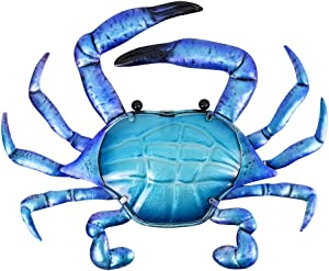 Liffy Metal Crab Wall Art Outdoor Nautical Decor Ocean Hanging Portunid Glass Sculpture for Pool or Bathroom