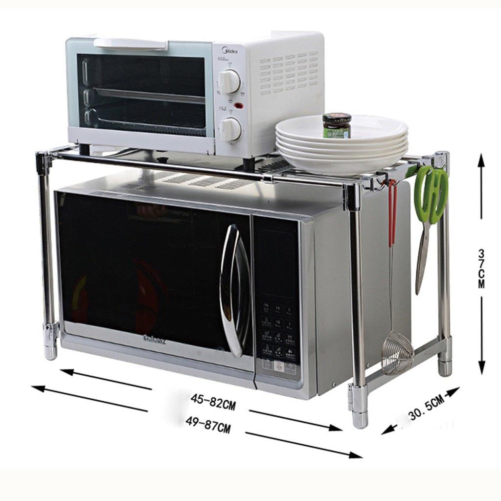 Farbe : #1 MENA HOME// Einschichtige einstellbare Edelstahl Mikrowelle Backofen Regal K/üche Regal Ofen Rack Sortierung Zulassung Regal