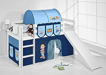 Etagenbett Hochbett Spielbett Kinderbett Jelle 90x200cm Vorhang : Lilokids spielbett jelle bob der baumeister hochbett mit rutsche