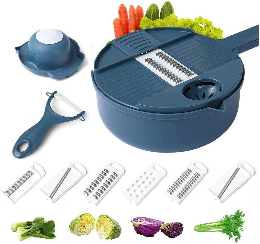 Vegetable Slicer and Grater Multi-function Chopper with Container, Spiralizer 12-In-One Manual Tool Food Processor(Blue)
