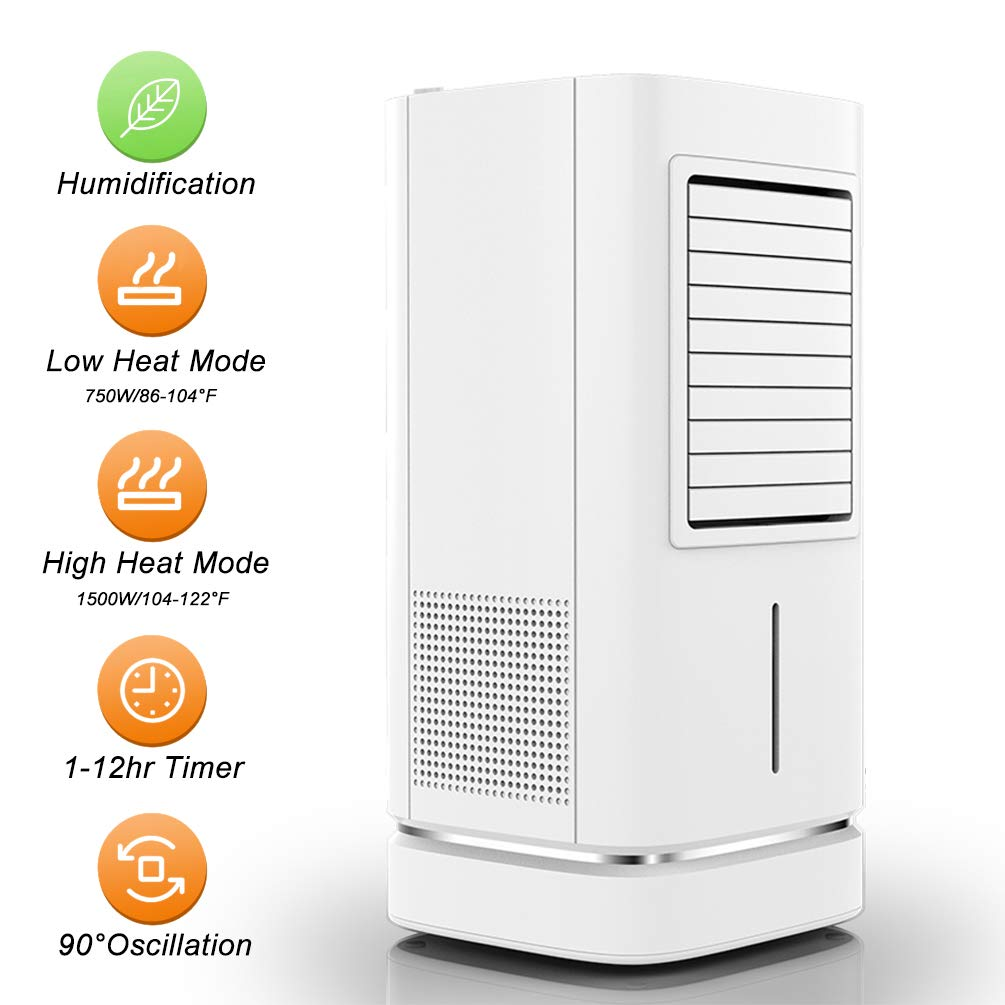 Doingart Portable Space Heater with Humidifier, 1500W Fast Heating Portable Oscillating Ceramic Tower Heater Air Conditioner Heater Fan for Office Home Use, 12H Programmable Timer