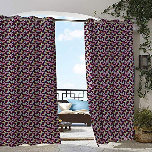 Linhomedecor Gazebo Waterproof Curtains Purple Butterfly Colorful Medley of Sketched Swallowtails Monarchs and Arctic Fritillaries Multicolor Porch Grommet Party Curtain 108 by 108 inch