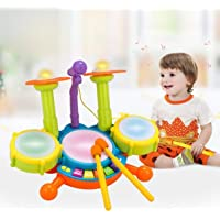 Sky Tech® Kids Drum Set, Drum Set for Kids Electric Toys Toddler Musical Instruments Play Set Flash Light Toy with Adjustable Microphone, Toys for Boys and Girls