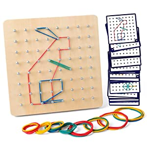 Coogam Wooden Geoboard Mathematical Manipulative Material Array Block Geo Board – Graphical Educational Toys with 30Pcs Pattern Cards and Rubber Bands Shape STEM Puzzle Matrix 8x8 Brain Teaser for Kid