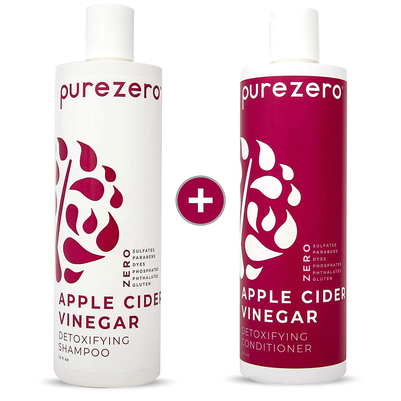 Purezero Apple Cider Vinegar Shampoo & Conditioner Set - Detox Scalp & Hair - pH balanced -Increase Hydration - Zero Sulfates, Parabens, Dyes - 100% Vegan & Cruelty Free - Great For Color Treated Hair