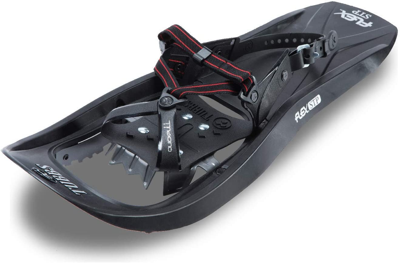 Black//Red 24 in. Tubbs Snowshoes Mens Flex STP Trail Walking Snowshoes Kit with Poles and Bag