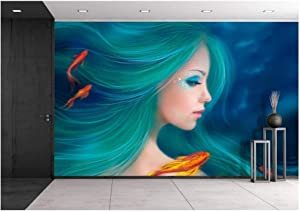 wall26 - Fantasy Mermaid with Red Fishes in Sea - Removable Wall Mural | Self-Adhesive Large Wallpaper - 100x144 inches