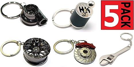 GT//Rotors Five Piece Auto Parts Metal Key Chain Set - Spinning Turbo Keychain, Six Speed Manual Gearbox Keychain, Wheel Tire Rim Keychain, Red Brake ...