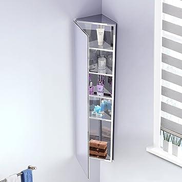 Stauraum Badezimmer amazon de ecke badezimmer spiegelschrank edelstahl 5 einlegeböden