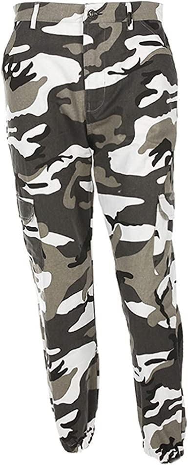 Ladies Womens Camouflage Military Stripe Joggers High Waist Fur Lined Army Pants