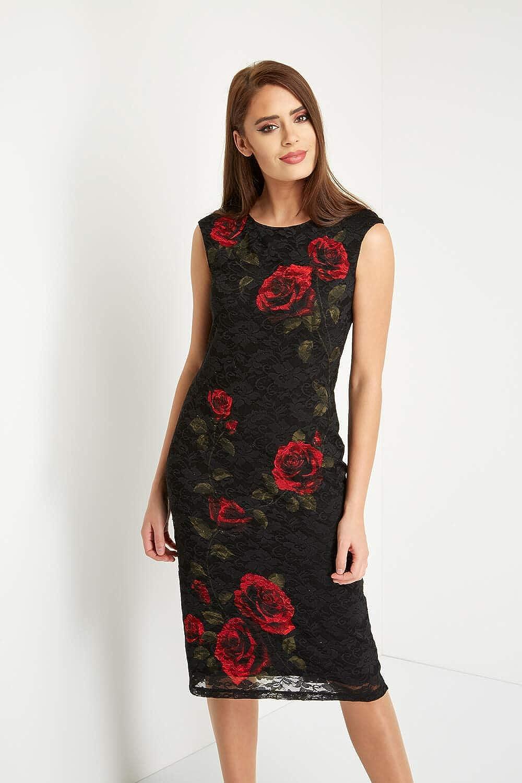 Roman Originals Women s Painted Rose Lace Little Black Dress - Ladies Roses  Classy Formal Pencil Dresses Graduation Christmas Party Sparkle LBD - Red -  Size ... 426de4565