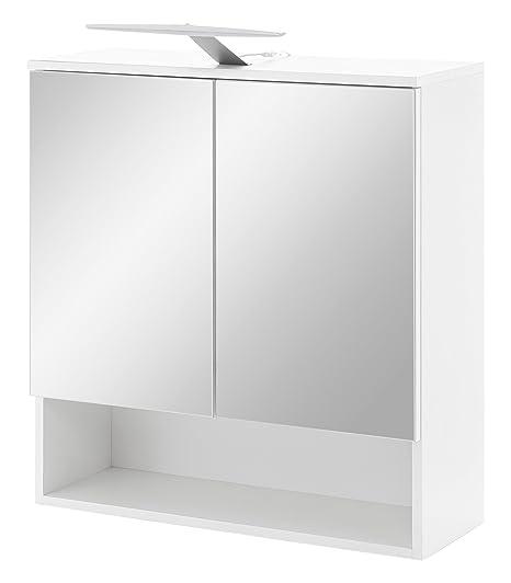 WILMES Spiegelschrank 2-TRG. mit LED Beleuchtung und offener Ablage ...