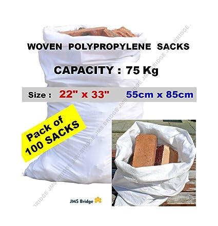 100 bolsas de polipropileno de doble costura, resistentes, color blanco, para sacos de arenaTamaño:55 cm x 85 cm.Capacidad de carga:75 kg aprox ...