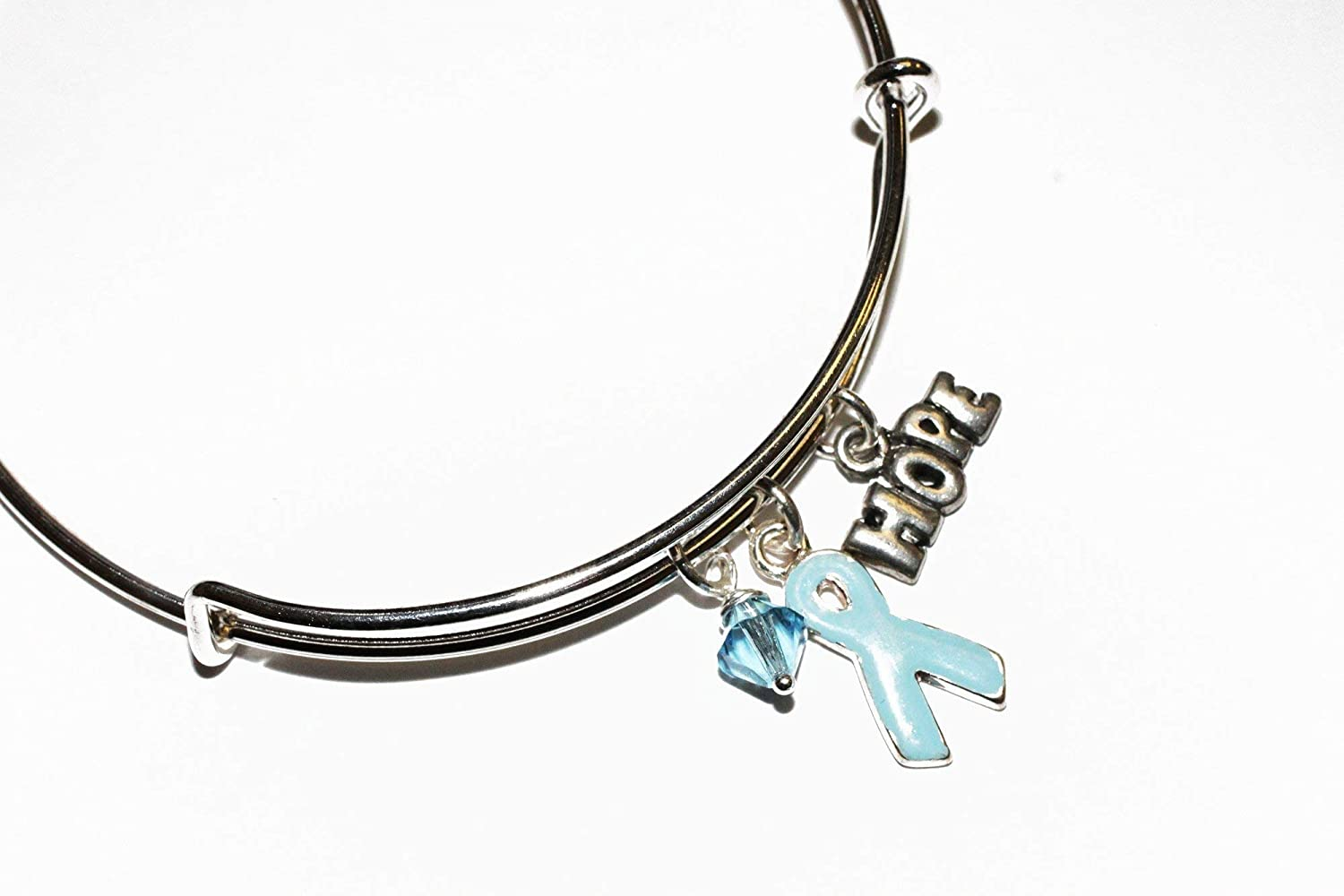 Amazon Com Light Blue Ribbon Awareness Charm Bracelet Swarovski