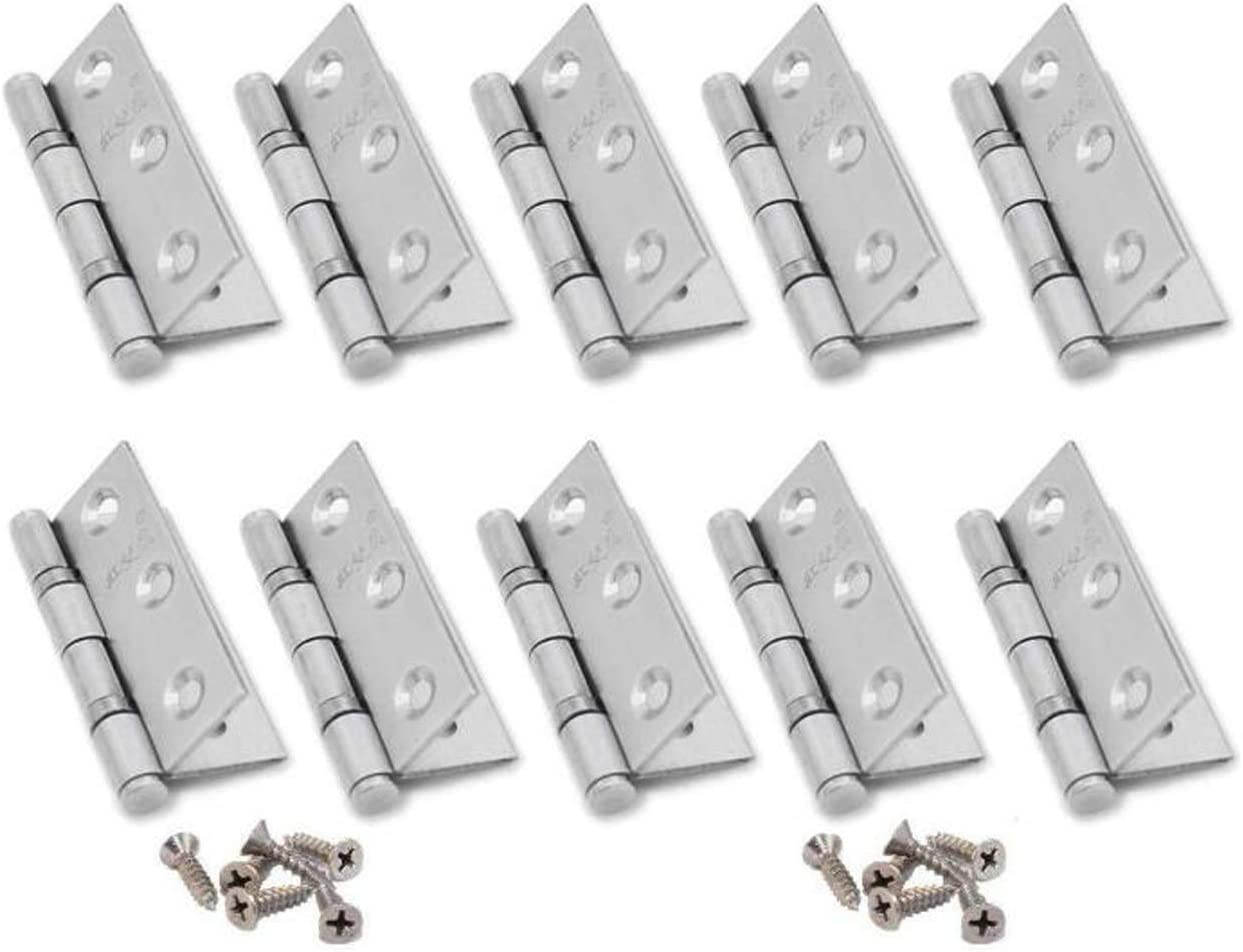 NARAMAX 10PCS 3Inch Silver Stainless Steel Folding Butt Hinges with Screws Cabinet Cupboard Closet Door Home Furniture Hardware Hinges for Cabinet Gate Windows Drawers Closet