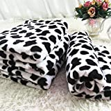 Coral Velvet Cow Pattern Pet Blanket for Dogs and Cats (32Wx38L)