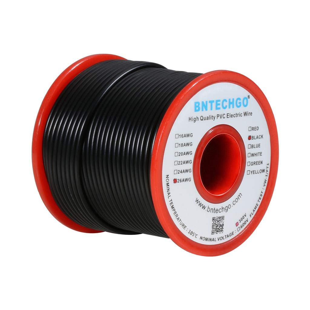 BNTECHGO 26 Gauge PVC 1007 Electric Wire Black 100 ft 26 AWG 1007 Hook on electric tape, junction box, power cord, extension cord, electric coil, electric scales, electric power transmission, electric gas, electric paper, electric cap, knob and tube wiring, distribution board, national electrical code, alternating current, three-phase electric power, electric fuses, electrical engineering, earthing system, electrical conduit, electric ring, ground and neutral, electric motor, circuit breaker, power cable, electric cord, wiring diagram, electric glass, electric terminals,