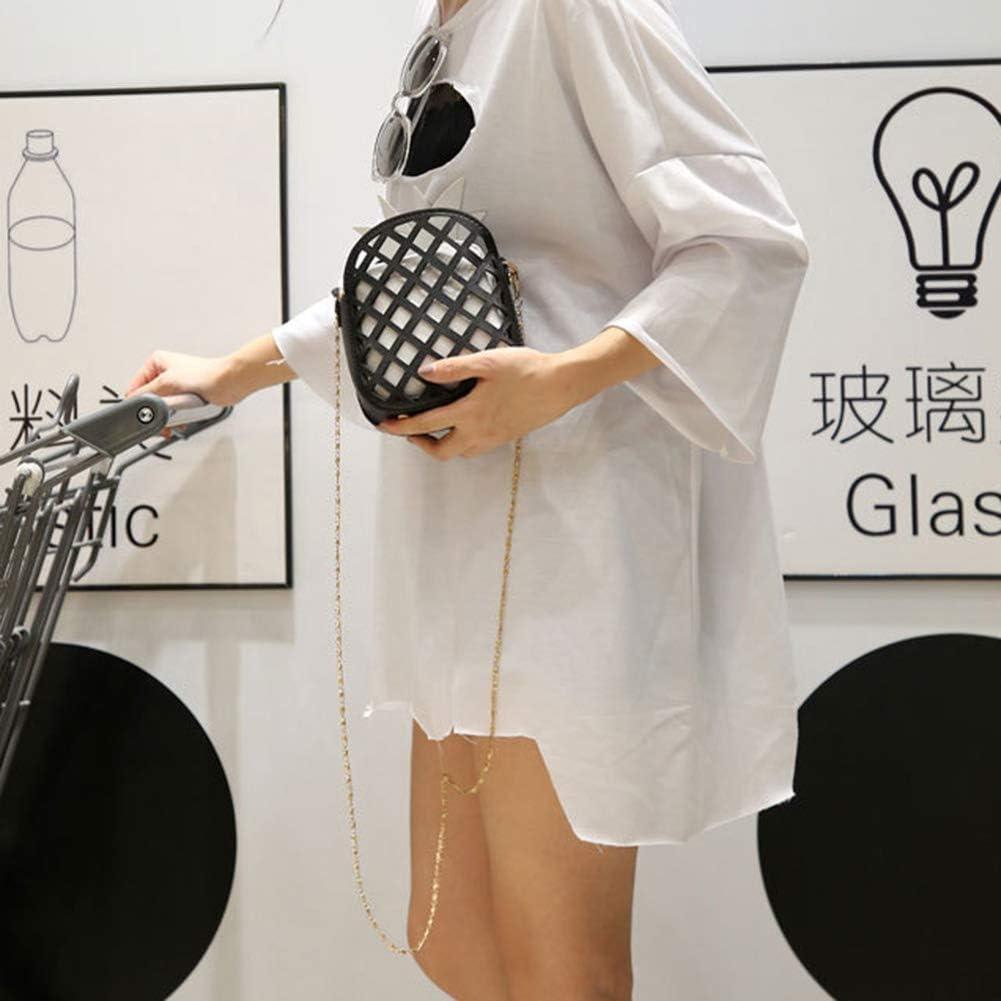 Saniswink Élégant et Classique Durable et Résistant à l'usure, Mode Ananas Creux Femme Faux Cuir Zipper Petit Sac à Bandoulière - Noir + Vert Jaune