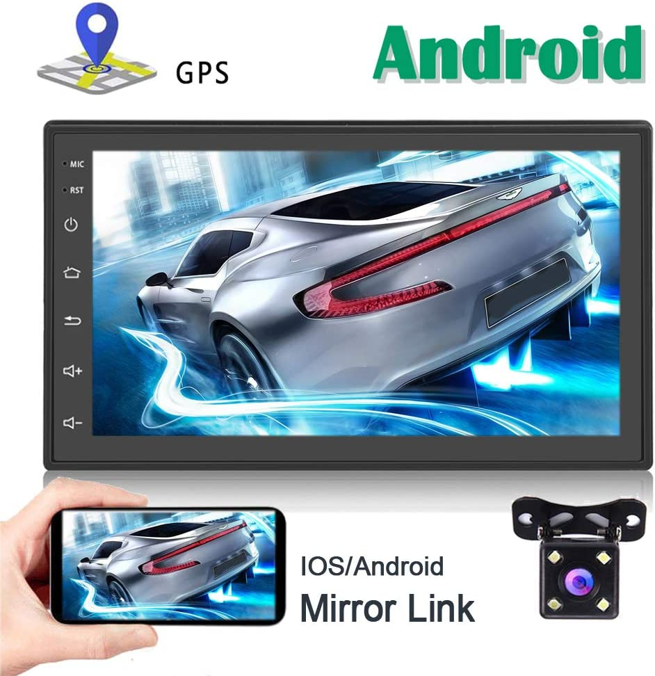 Android Double Din Car Stereo with GPS Navigation Bluetooth FM Radio Reciever 7 Inch Capacitance Touch Screen Support WiFi Connect Mirror Link for iOS Android Phones + Dual USB Cable Backup Camera