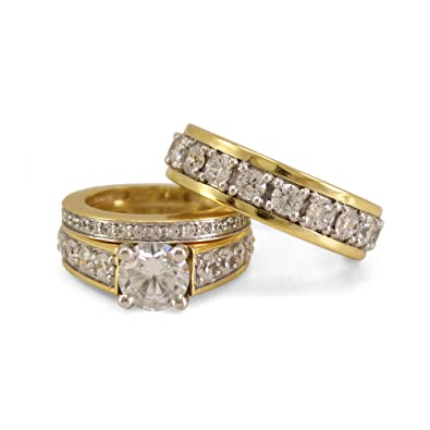 TVS-JEWELS Mens 14K Gold Plated 925 Sterling Silver White Cubic Zirconia Engagement Ring Jewelry