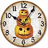 Item C1550 Vintage Style 10.5 Inch Halloween Pumpkin Clock