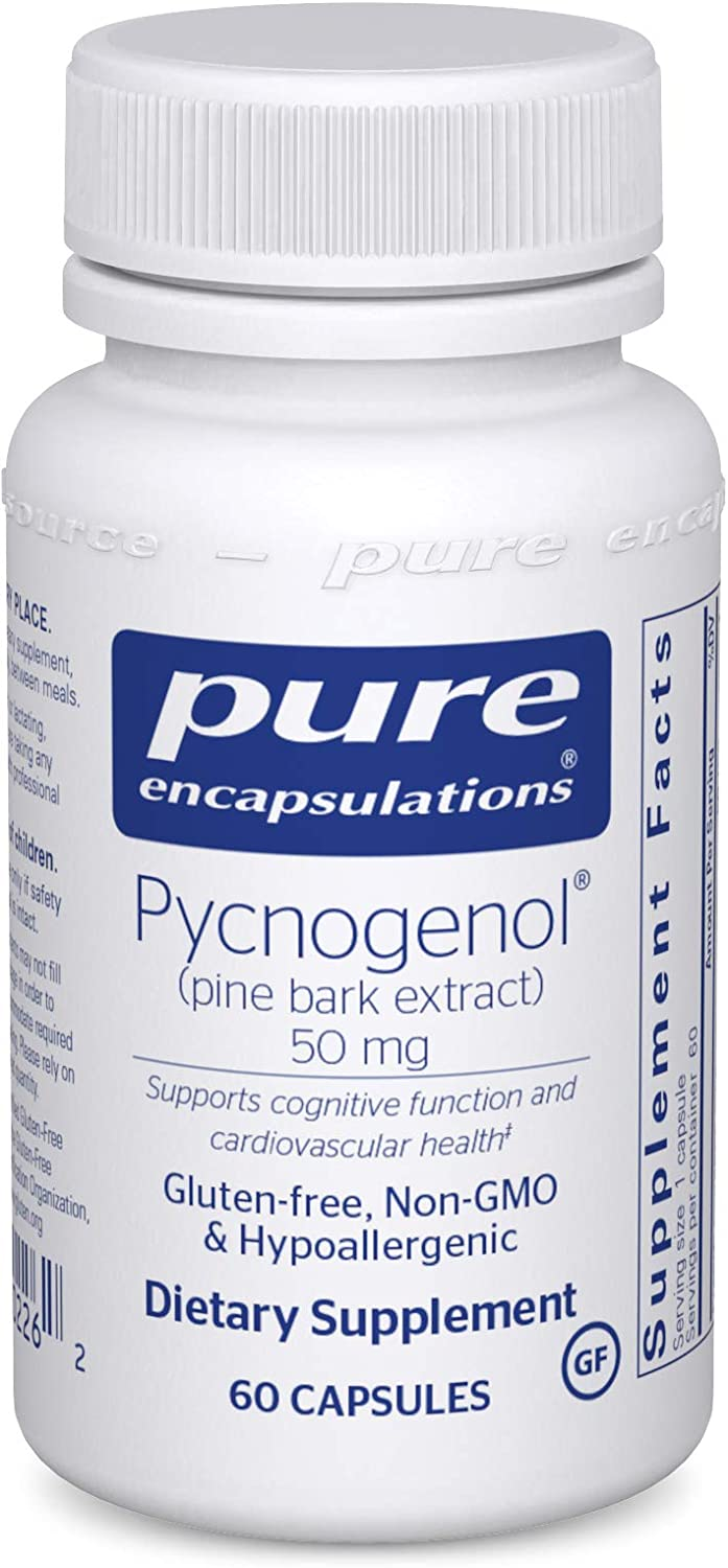 Pure Encapsulations - Pycnogenol (Pine Bark Extract) 50 mg - Hypoallergenic Supplement to Support Cognitive Function and Cardiovascular Health - 60 Capsules