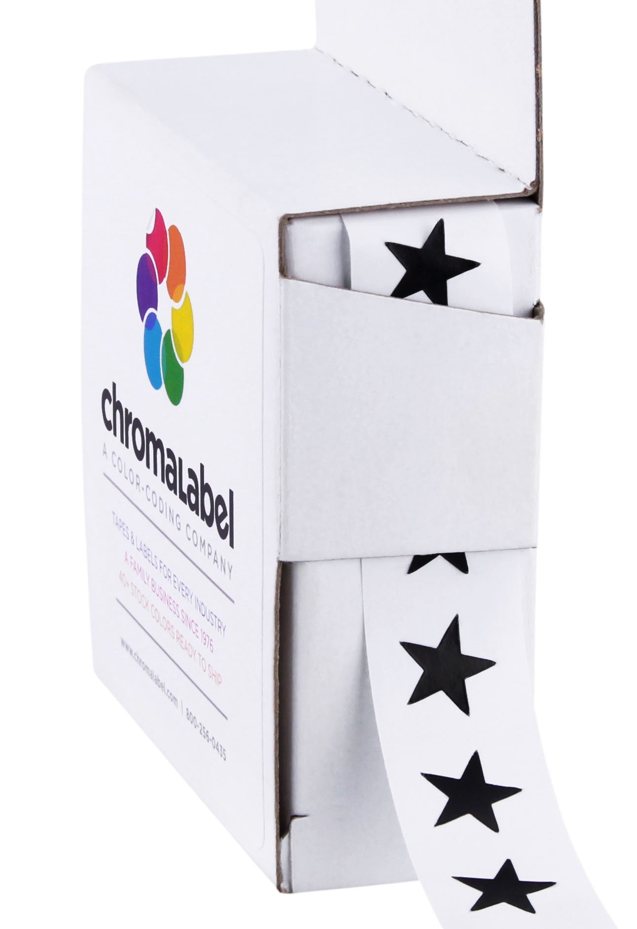 ChromaLabel 3/8 inch Color-Code Star Labels | 1,000/Dispenser Box (Black)
