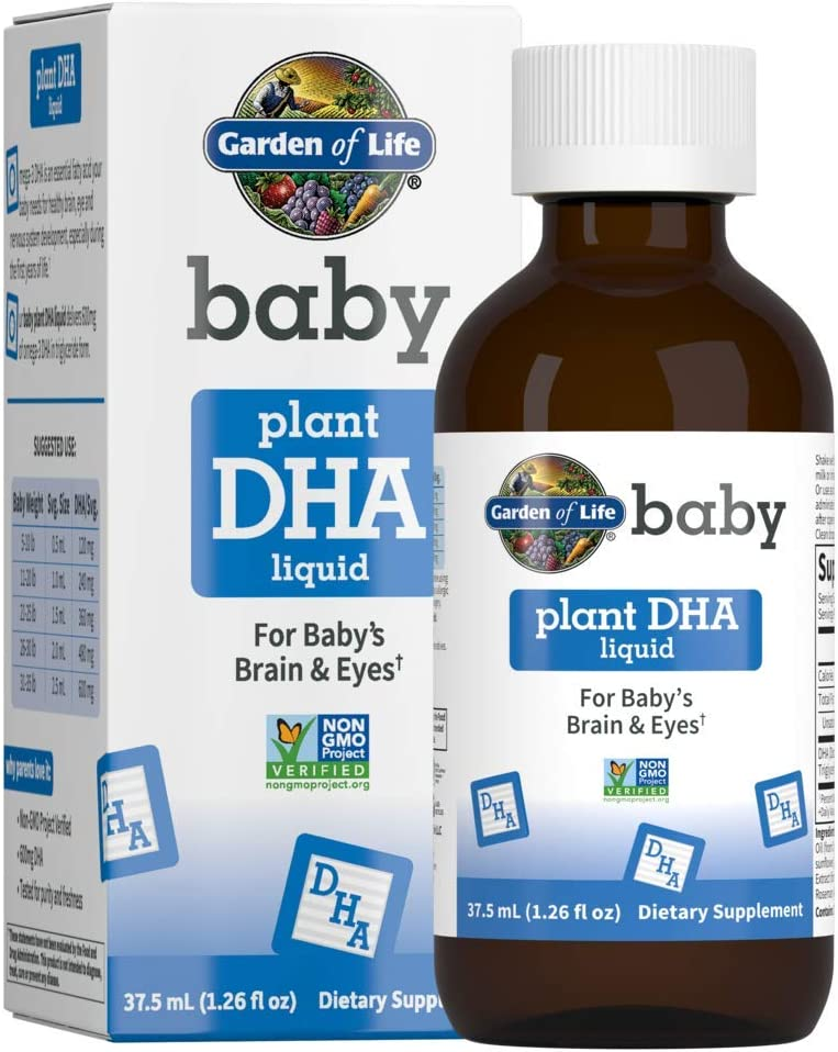 Garden of Life Baby Plant DHA Liquid, 600mg Omega 3 DHA Drops for Baby's Brain & Eyes, Vegan, Non-GMO & Gluten Free Plant Based Baby DHA for Newborns, Infants & Toddlers, 37.5 mL (1.26 fl oz) Liquid