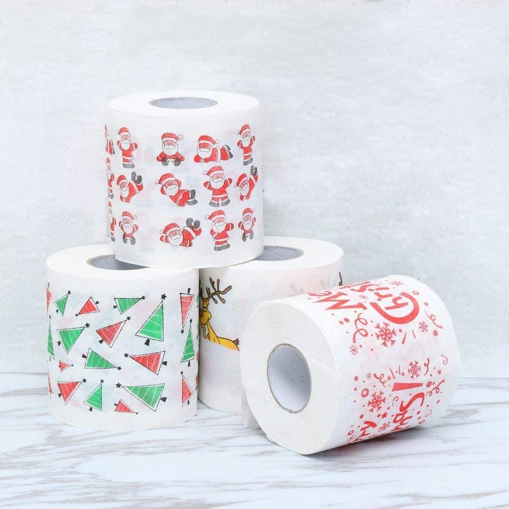 Eve.Ruan Christmas Theme Pattern Printing Roll Paper Household Santa Claus Bath Toilet Roll Paper Bath Tissue Christmas Supplies for Holiday Decor