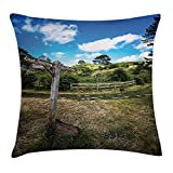 Queen Area Hobbits Rustic Wooden Sign in Hobbit Land East West Movie New Zealand The Shire Square Throw Pillow Covers Cushion Case for Sofa Bedroom Car 18x18 Inch, Green Brown