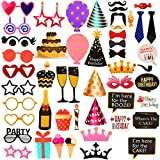 LeeSky Birthday Photo Booth Props Kit,50Pcs Photo Booth Props for Wedding Birthday Christmas Holiday Party Decoration Supplies