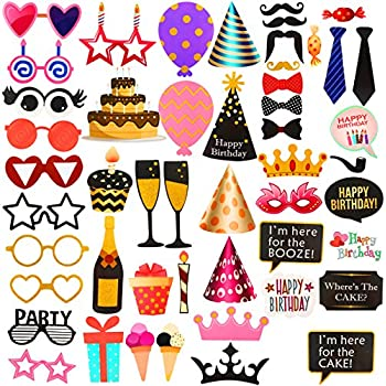 50pcs Birthday Photo Booth Props Kit,For Birthday,Wedding,Baby Shower,Hawaii,Vacation Party Favors