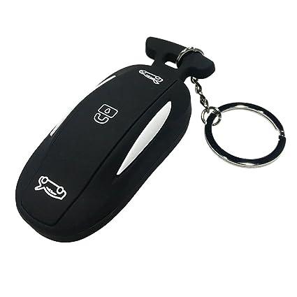 for Tesla Model X Car Remote Key Fob Flip Key Protection Case Cover, Key  Remote Control Smart Silicone Key Fob Holder (Black)