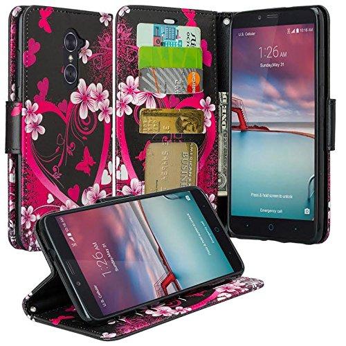ZTE ZMAX Pro Case, ZTE Blade X Max Case, ZTE Grand X Max 2, ZTE Imperial Max, ZTE Max Duo LTE Case, Wrist Strap Pu Leather Wallet Case with ID&Card Slot for ZTE Carry, Hot Pink Hearts