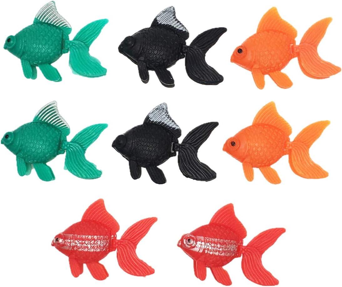 COMOK 8Pcs Cute Lifelike Plastic Artificial Goldfish Ornament for Aquarium Fish Tank, Assorted Colors