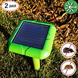 VENSMILE 2 Pieces Solar Sonic Mole Repellent Spike Gopher Repeller Vole Control Deterrent Traps Get Rid of Rodents AR02, Waterproof