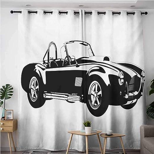 VIVIDX - Cortinas para puerta corredera, diseño de coches de deportes rápidos, color blanco y naranja, diseño vintage de vehículo, impresión de velocidad, cortinas opacas para dormitorio, color naranja: Amazon.es: Hogar