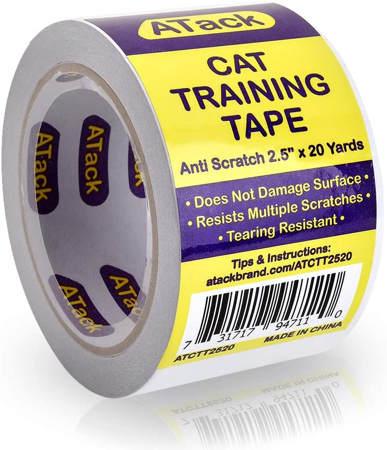 ATack Cat Anti-Scratch Training Tape, Residue-Free and Removable, Clear, 2.5-Inches x 20 Yards, Kitty Scratch Deterrent, Prevention Tape and Protector for Leather Couch, Furniture, Door