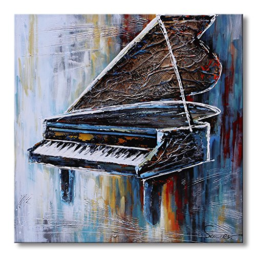 Sumeru Piano Canvas Wall Art Paintings Abstract Musical Instruments Artworks for Home Living Bedroom Office Decoration,1 Piece, 24x24 inch, Stretched and ()