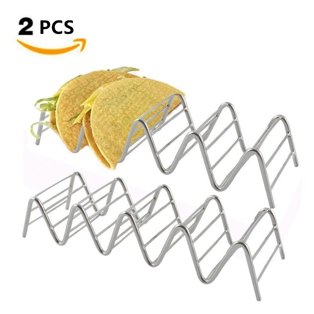 Zinnor Stylish Mental Taco Holder Stand Taco Holders Stainless Steel Mexican Food Taco Stand Rack for Hard or Soft Shell Tacos-Hold up To 18 Tacos (2pcs)