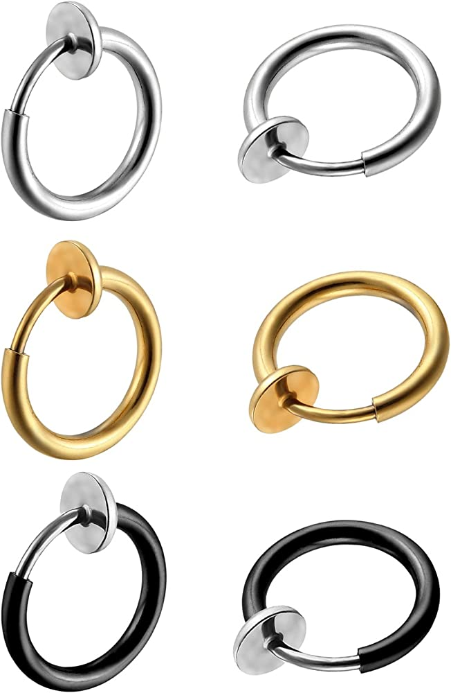 Non-Tarnish Double Hoop Ring Tragus Ring No Piercing Nose Ring