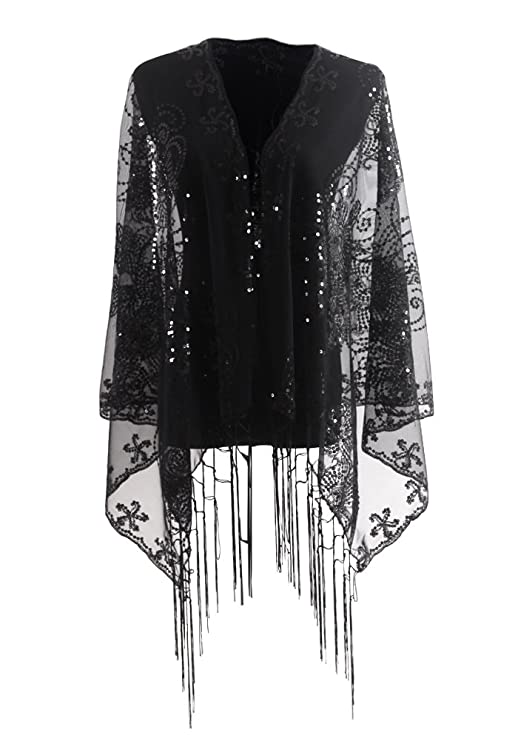 1920s Accessories | Great Gatsby Accessories Guide Womens Evening Wrap Stole Shawl For Wedding Parties BridesmaidProm Scarf with Fringe by DiaryLook £15.99 AT vintagedancer.com