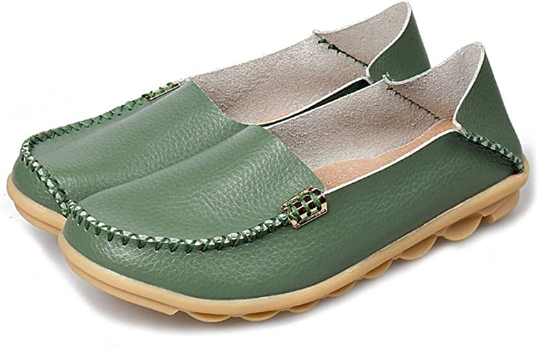 Women Sandal Shoes Loafers Casual Flat Slip On Loafers Faux Leather New