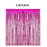 2packs 3.28X9.84ft Metallic Foil Fringe Shiny Curtains for Party Birthday,Event Decorations Door Window Tinsel (red rose)