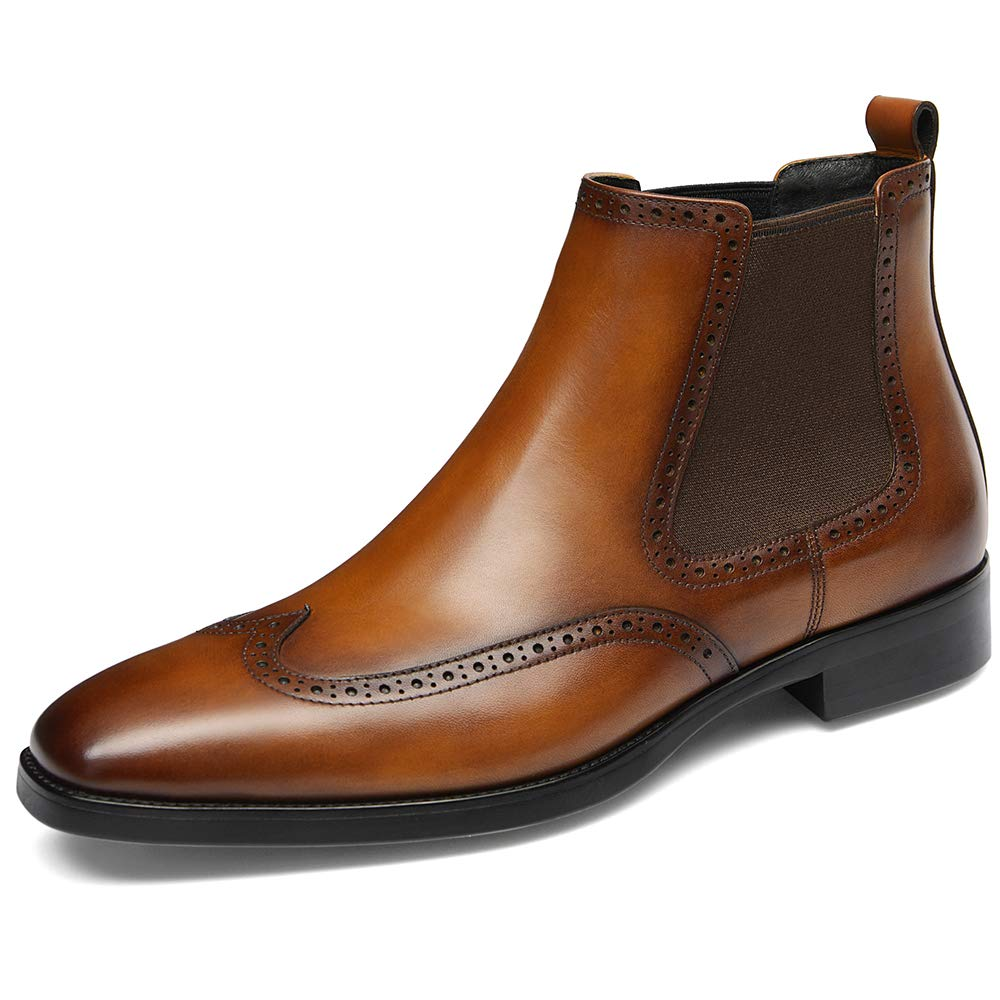 GIFENNSE Men's Chelsea Boots,Brown Boots for Men,Leather Boots,Dress Boots,Black Boots(10.5US/Brown